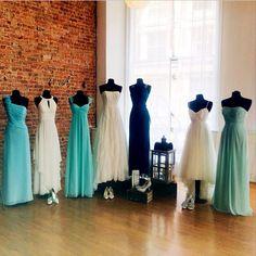 Ombre blue bridesmaid dresses at @DavidsBridal
