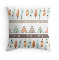 Mint & Coral Tribal Pillow Cover with Teepee by mallorylynndecor #HomeDecor #Nursery