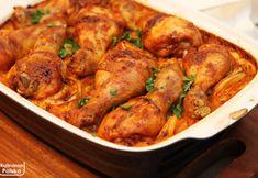 Kurczak pieczony na ryżu, który robi się sam [PRZEPIS] B Food, Polish Recipes, Chicken Wings, Baking Recipes, Shrimp, Food And Drink, Turkey, Menu, Dinner