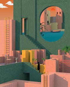 Illustrator Tishk Barzanji, Solitude. 건물, 색감