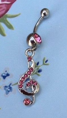 Pink Treble Clef Belly Button Piercing #pink #bellybuttonpiercing #trebleclef #music #jewellery http://m.ebay.co.uk/itm/Free-Gift-Bag-Pink-Crystal-Belly-Button-Piercing-Musical-Note-Treble-Clef-Cute-/282027154367?nav=SELLING_ACTIVE