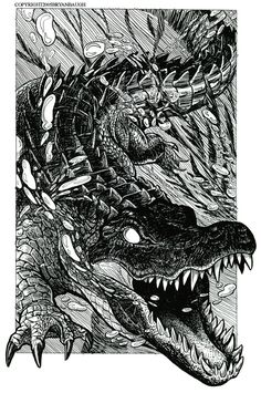 Underwater Gator by BryanBaugh on DeviantArt Animal Sketches, Animal Drawings, Art Sketches, Art Drawings, Vexx Art, Ink Art, Krokodil Tattoo, Reptiles, Alligator Tattoo
