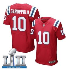 1fc7a0156 Men s New england patriots  10 jimmy garoppolo red 2018 super bowl lii  elite jersey from