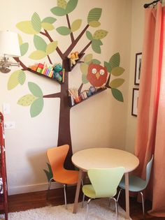 Kids bedroom, floating bookshelves and tree wall art