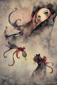 "Anne by Juri Ueda (juriu, Osaka, Japan): ""She has green eyes and some evil thoughts... tiny watercolor doodle."" {traditional watercolor, 2007}"