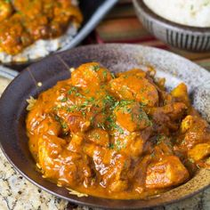 This coconut curry chicken is made using chunks of chicken breasts. The sauce is made of tomato, curry powder, onions and coconut milk.