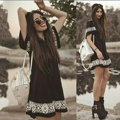 """Small Black Aztec Dress Beautiful black dress with Aztec designs. Loose fitting and airy perfect for spring and summer. 27"""" length, 17"""" chest.  PRICE FIRM UNLESS BUNDLED  NO TRADES Dresses Mini"""