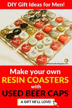 Make a unique and special gift for your Dad using bottle caps from his favourite brew, set into a resin coaster. See how to do it or purchase a kit for him to make one for himself. These resin coasters are a fun conversation starter that he'll love using all the time. #MillLaneStudio #fatherdaydiy #resincoastertutorial #resincraftsformen #resincraftsprojectsunique