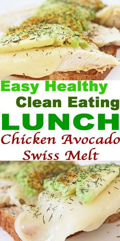 Get today's easy healthy recipe and clean eating lunch--Swiss Chicken Melt with Avocado. Excellent healthy lunch idea for clean eating diet. Clean Eating Diet, Clean Eating Recipes, Healthy Eating, Cooking Recipes, Healthy Food Options, Healthy Dinner Recipes, Healthy Snacks, Benefits Of Organic Food, Healthy Sandwiches