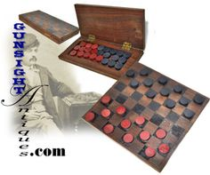 Civil War era traveling CHECKER GAME