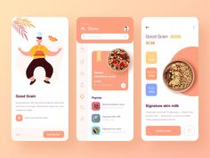 Food application design designed by Xupan. Connect with them on Dribbble; the global community for designers and creative professionals. Interaktives Design, App Ui Design, User Interface Design, Page Design, Flat Design, Design Layouts, Dashboard Design, Ui Design Mobile, Delivery App