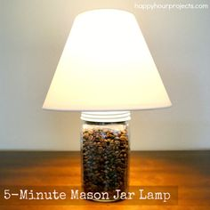 Five-minute project: Mason Jar Lamp! Tutorial at www.happyhourprojects.com
