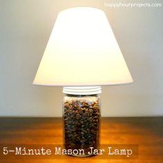 Five-minute project: Mason Jar Lamp! Tutorial at www.happyhourprojects.com