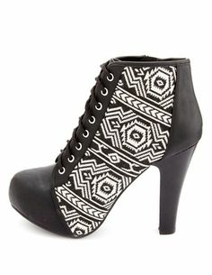 Tribal Inset Lace-Up Platform Booties: Charlotte Russe - http://AmericasMall.com/categories/juniors-teens.html