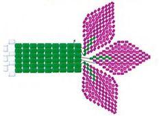 6  «Слепленные» между собой ряды бисера — это не цельное полотно, это раздельные тычинки, с пико из белых бисеринок на концах. На схеме показано, каким образом они крепятся к лепесткам цветов.