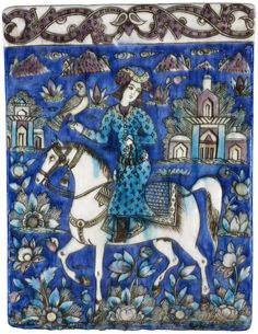 Wall tile of glazed earthenware with bas-relief polychrome design of an equestrian figure with hawk on right hand, floral ornament, and buildings in background, with raised border at top: Persia, century. Islamic Tiles, Islamic Art, Teheran, Middle Eastern Art, Art Asiatique, Persian Culture, Iranian Art, Tile Art, Wall Tile