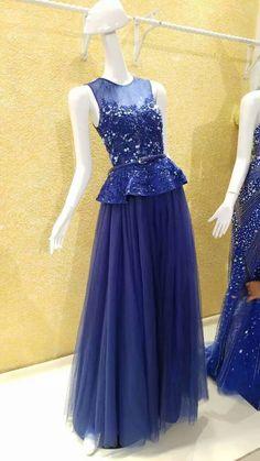 Royal Blue Evening Dress,Lace Evening Dress,Applique Evening Gowns,Sequined Evening Dress,Puplum Evening Dress,A-line Evening Dress,Tulle Evening Dress,Formal, abendkleider