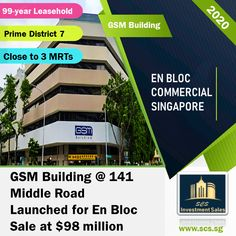 GSM Building @ 141 Middle Road Launched for En Bloc Sale at $98 million. The Enbloc Site is Close to Bugis Bencoolen & Bras Basah MRT. Singapore, Investing, Commercial, Middle, Product Launch, Building, Arms, Buildings, Construction