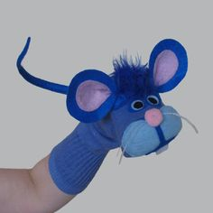 Handmade Blue Mouse Sock Puppet