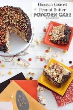 Chocolate Peanut Butter Popcorn Cake @createdbydiane