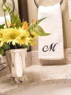 Flowers would be an excellent touch Bathroom Colors, Bathroom Ideas, Monogram Towels, Decor Ideas, Gift Ideas, Bathroom Towels, Mother Day Gifts, Mothers, Sweet Home