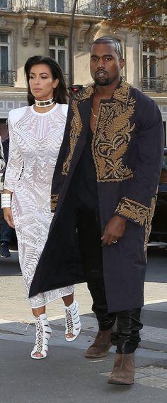 Kanye West and Kim Kardashian showed off regal looks during Fashion Week.