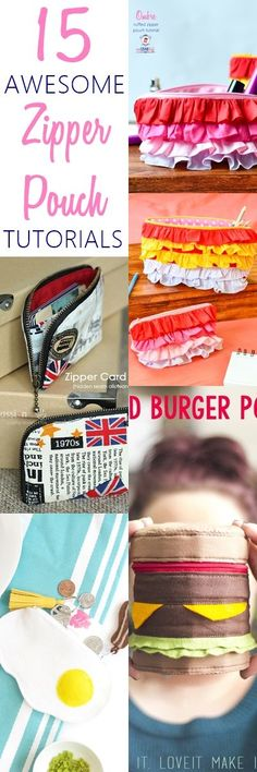 16 Awesome Easy Sew Zippered Pouches on sewsomestuff.com. Such a UNIQUE list of pouches to sew! The burger zipper pouch is my absolute favorite after the ombre ruffled pouch. CHECK OUT NOW!