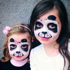 Kinderschminken Panda make-up for carnival. Panda Face Painting, Girl Face Painting, Face Painting Tips, Belly Painting, Face Painting Designs, Painting For Kids, Panda Makeup, Kids Makeup, Animal Face Paintings