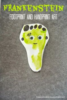 Frankenstein Footprint and Handprint Art- classic Halloween crafts for kids by FSPDT Perfect activity for my 1 yr, 2yr, and 5 yr. Something they all can get in on.