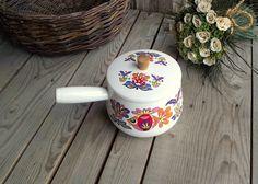 French Vintage Saucepan  White Casserole Pot by MyFrenchBricABrac