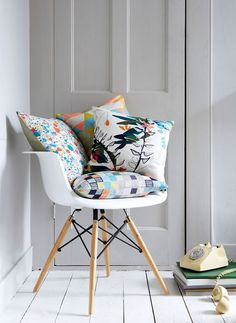 Bright printed cushions by Imogen Heath