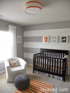 boy's nursery--But with gray/turquoise alternating on the accent wall!