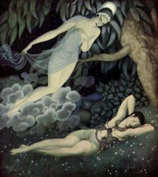 """Edmund Dulac:  Illustrations to """"Gods and Mortals in Love."""" Selene and Endymion"""