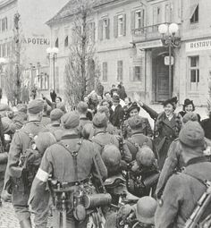 demdeutschenvolke: 6th of April, 1941. Ethnic Germans greeting Wehrmacht…