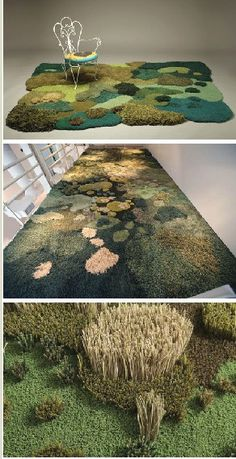 Carpets by Alexandra Kehayoglou: These carpets are made from wool, often from the leftovers of the production of other products in the factory, carrying a strong message of sustainability. They look like grass!