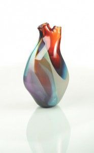 Artist eva milinkovic used the heart as inspiration for her beautiful hand crafted vase. http://tsunamiglassworks.com/