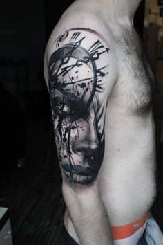 Realistic Portrait & Clock Face