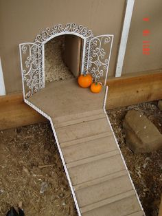 fall chicken coop decorations | The fancy vintage wrought iron archway for the pampered chickens