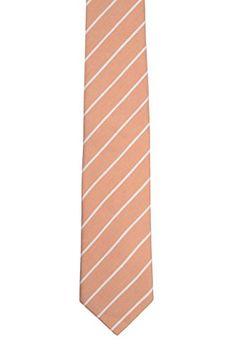 Linen Slim necktie - White polka dots on light orange plain weave - Notch OJIN Notch yaX63