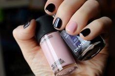 black and pink - nails