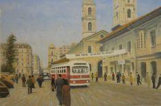 Bogotá ,Carrera 7a, en 1955. Oleo sobre lienzo.Sandro Torregroza