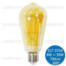 V-TAC VT-1968 LAMPADINA LED BULBO E27 CANDELA FILAMENTO 8W = 55W ST64 300° 700LM