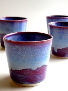 ooooOOOOoo what a pretty color...  Set of 4 Purple Blue Porcelain Tumbler from NewMoonStudio on etsy.com - Made To Order