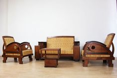 Colonial four-part seating area in Amsterdam School style - Catawiki School Furniture, Art Deco Furniture, Amsterdam School, Colonial Art, Dutch East Indies, School Style, School Fashion, A Table, Armchair