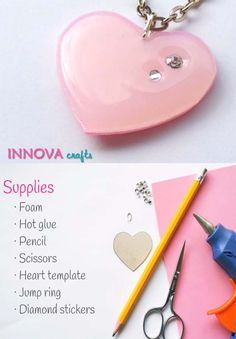 Fun Crafts To Do With A Hot Glue Gun | Best Hot Glue Gun Crafts, DIY Projects and Arts and Crafts Ideas Using Glue Gun Sticks |  DIY Cute Heart Pendant with Hot Glue  |   http://diyjoy.com/hot-glue-gun-crafts-ideas