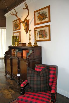 Love the fabric on the chair...   Indian Cove Lodge collection - Ralph Lauren