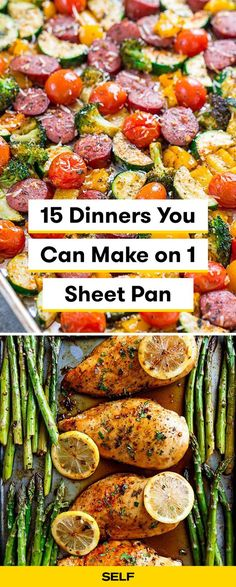 These healthy sheet pan dinners have your favorite proteins: chicken, sausage, and steak for easy meals that take an hour our less to make! Loaded with veggies, these dishes are relatively low carb and many are paleo. Healthy Homemade Snacks, Healthy Snacks For Diabetics, Healthy Salad Recipes, Veggie Recipes, Healthy Cooking, Chicken Recipes, Healthy Eating, Healthy Foods, Pan Cooking
