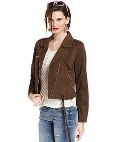 Bar III Jacket, Zip-Up Cotton Moto - Bar III - Women - Macy's