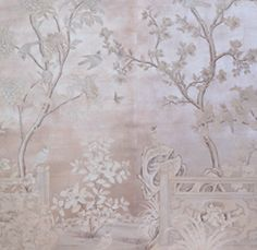 """SY-234 - Handpainted Chinese scenic painted on an antiqued silver leaf background based on vintage Gracie design. Two panels shown. SIZE: Each Panel is 3' Wide x 10' High, Design height 7'6"""""""