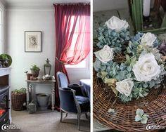 Chaque meuble de la pièce à vivre accueille des mises en scène romantiques et végétales composées par Bénédicte Patin